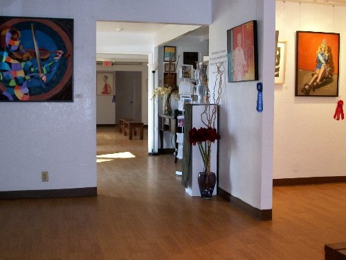 Photograph of the inside of the Carter House Art Gallery