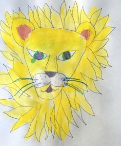 Watercolor and Crayon resist done by a child in Lynda Nolte's Class this past Wednesday.