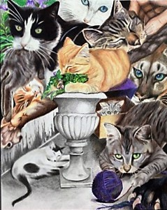 """Cat Dreams"" by Gretchen Schnabel - Colored Pencil"