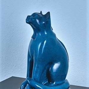 """Space Cat"" by Lucius Upshaw - Bronze Sculpture"